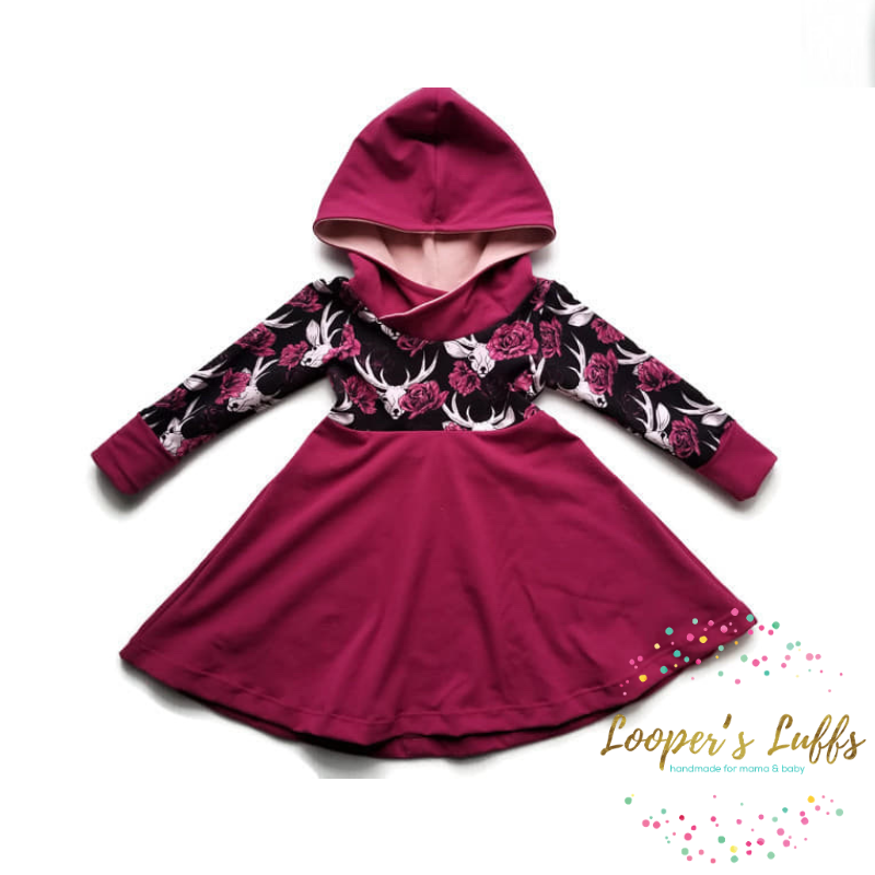 Burgundy dress with dear for baby, grow with me